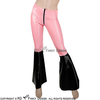 Baby Pink With Black Bottom Sexy Latex Leggings With Flared Legs Rubber Bell Bottom Pants Trousers CK-0027 black lace details bell bottom pants