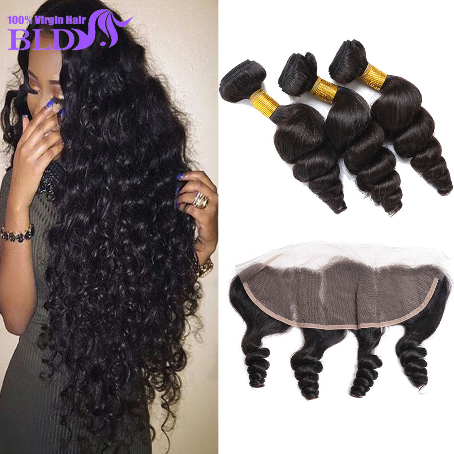 Puruvian Hair Bundles With Closure Loose Wave With Closure Human Hair Bundles With Frontal 3 Bundles With Frontal Closure