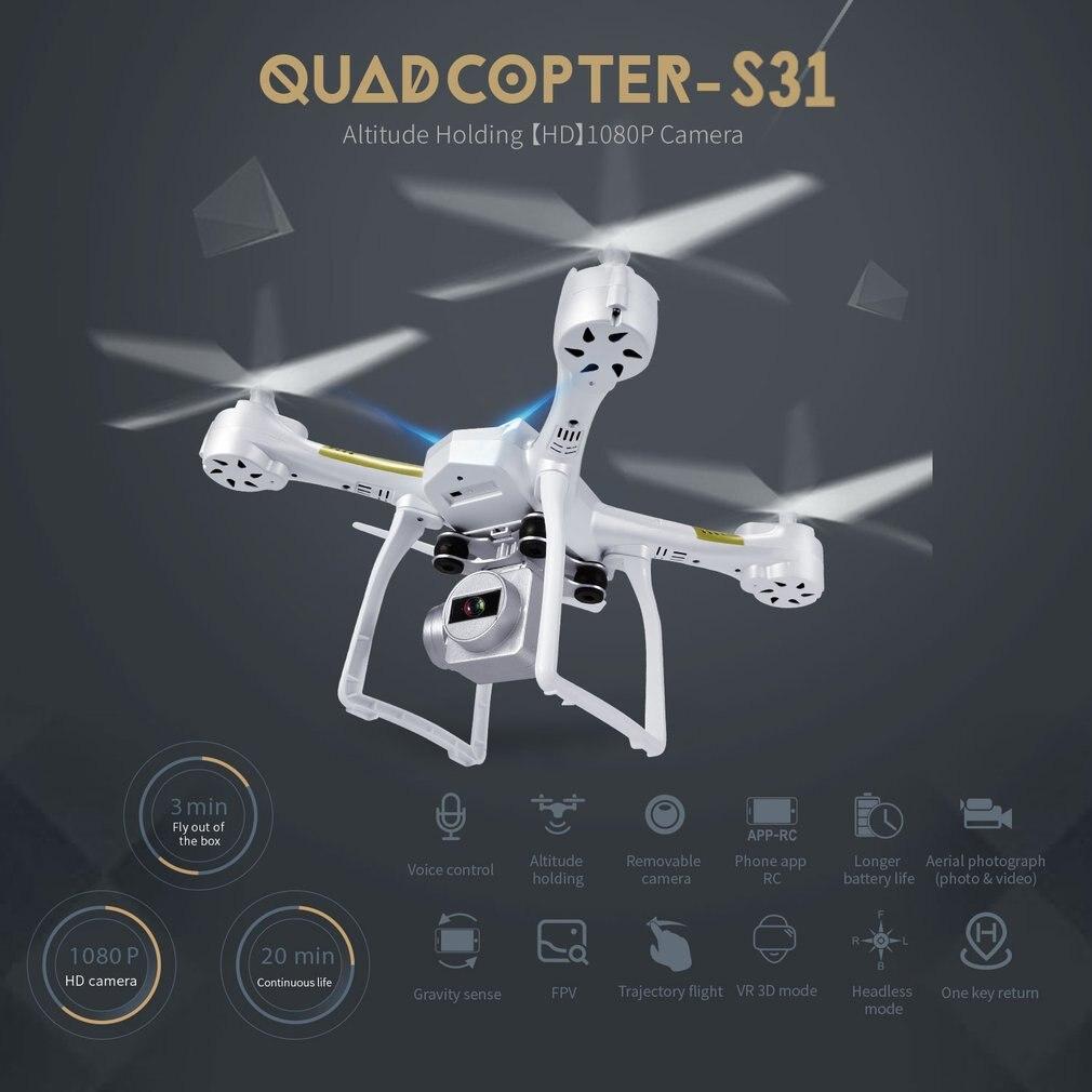 S31 RC Drone con la Macchina Fotografica HD Lunga Durata Quadcopter Una Chiave di Ritorno RC Elicottero Flusso Ottico 2.4 Ghz 6- axis Gyro Dron