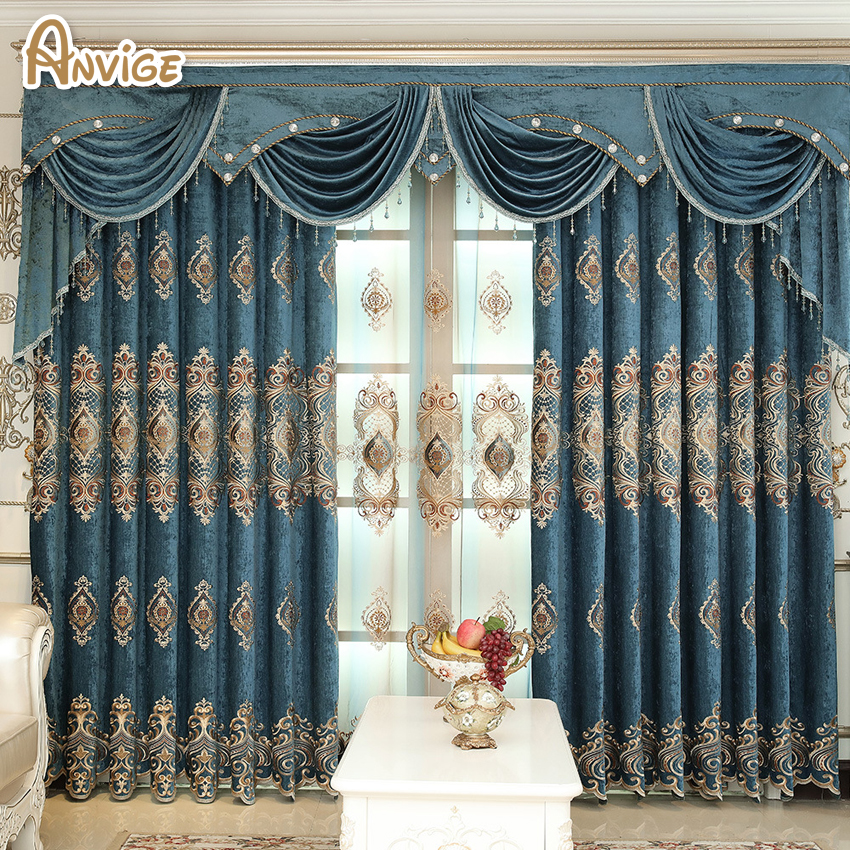 ANVIGE European Style Embroidered Valance Curtains