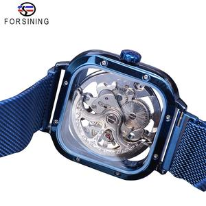 Image 4 - Forsining Blue Watches For Mens Automatic Mechanical Fashion Dress Square Skeleton Wrist Watch Slim Mesh Steel Band Analog Clock