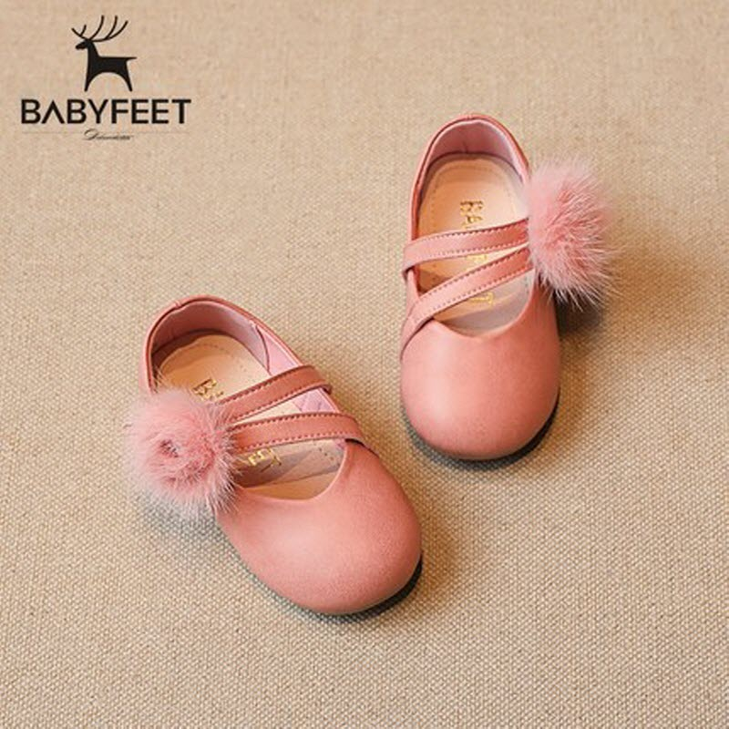 Babyfeet children shoes PU leather Plush ball baby girl princess dress leather shoes kids fashion girl party shoes zapatos nina
