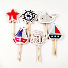 24pcs Rudder Anchor Sailboat Yacht Star whale Cupcake Topper Kids Birthday Party Supplies Cake Decoration Ocean sailing theme(China)