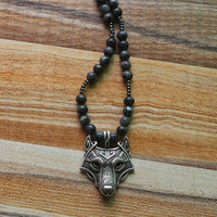 8mm Norse Vikings amulet Wolf Head Pendant Necklace Long natural Gray spar necklace for men and women