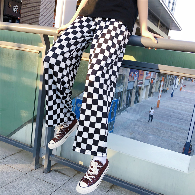Focal20 Streetwear Plaid Women Pants Elastic Waist Full Length Checkered Black and White Casual Loose Straight