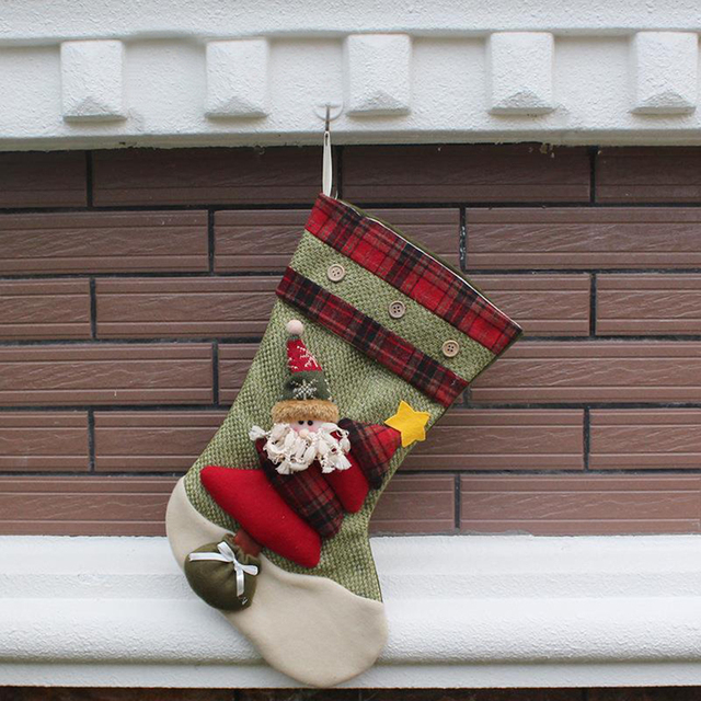 stuffed animals plush toy christmas stocking arge long legged plaid christmas stockings gift bags christmas - Plaid Christmas Stockings