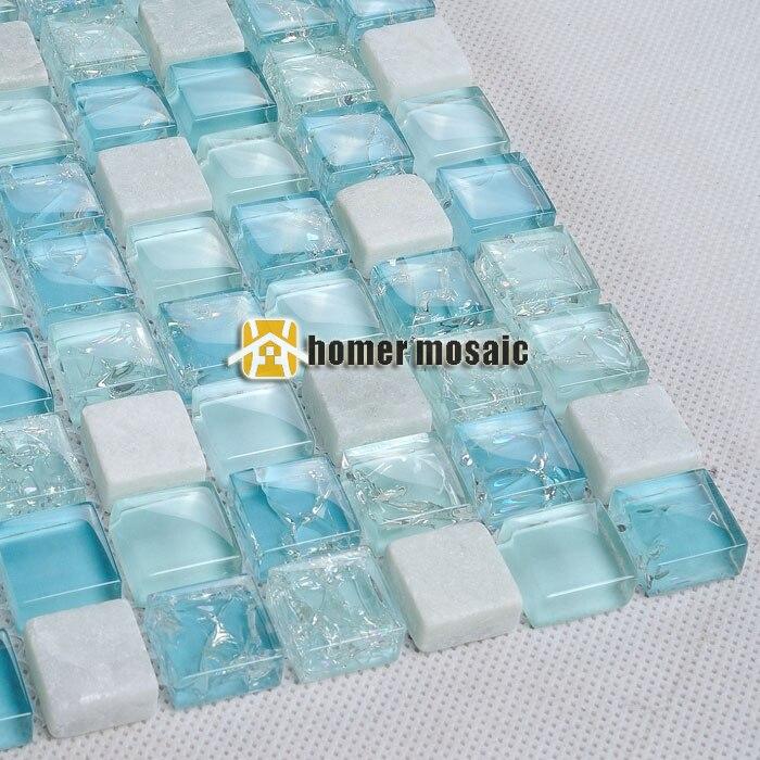 Mini Eis Knistern Blau Glasmosaik Gemischten Weißen Stein Fliesen Für Bad  Dusche Fliesen Küche Backsplash Fliesen
