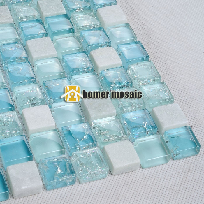 mini ice crackle blue glass mosaic mixed white stone tile for bathroom shower tiles kitchen backsplash tiles wall mosaic HME6011 maverick ice 5 blue
