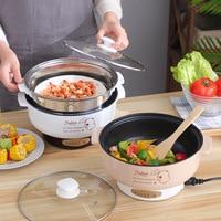 220V wielofunkcyjna kuchenka elektryczna ogrzewanie Pan elektryczny gar do gotowania maszyna do Hotpot makaron jaj zupy do gotowania na parze mini kuchenka do ryżu w Urz. do gotowania ryżu od AGD na