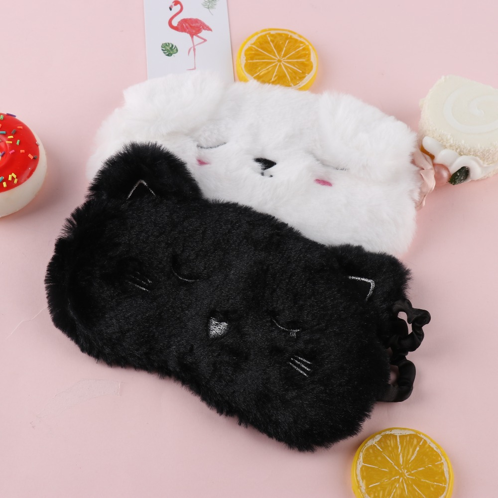 1PC Cute Cartoon Cat White Dog Eyemasks Home Travel Goggles Shading Sleep Nap Eyes Mask Eyeshade Shade Cover Patch Eye Care Tool
