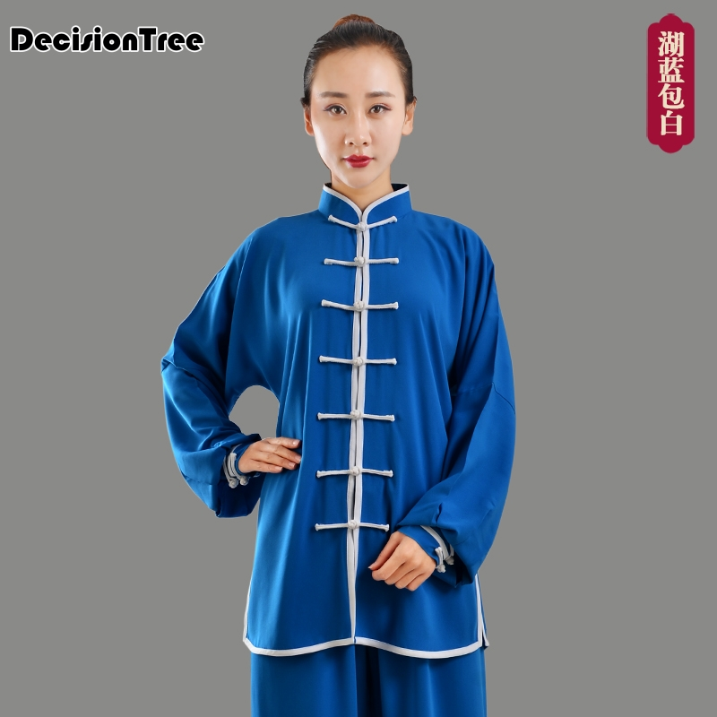 2019 Martial Arts Set Man Women Long Sleeve Stand Collar Clothes Uniform Suit Kungfu Wushu Set Silk Tai Chi Clothes
