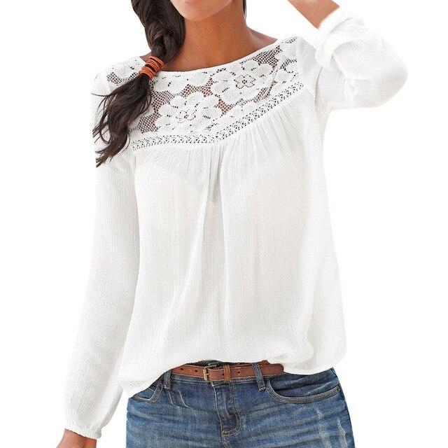 105b456f2df Кружевная блузка женская зимняя повседневная с длинным рукавом кружевные  лоскутные кофты Женская блузка рубашка Tunique Femme
