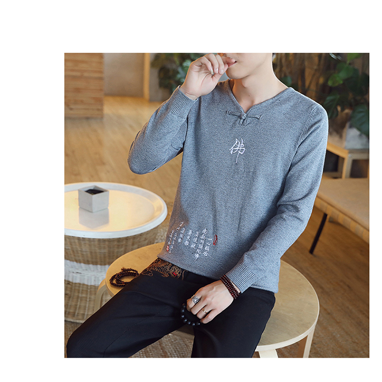 Chinese style Buddha embroidery Pull Homme Pullover Men spring autumn Casual sweater knit leisure Jersey Hombre Cotton v-neck 73