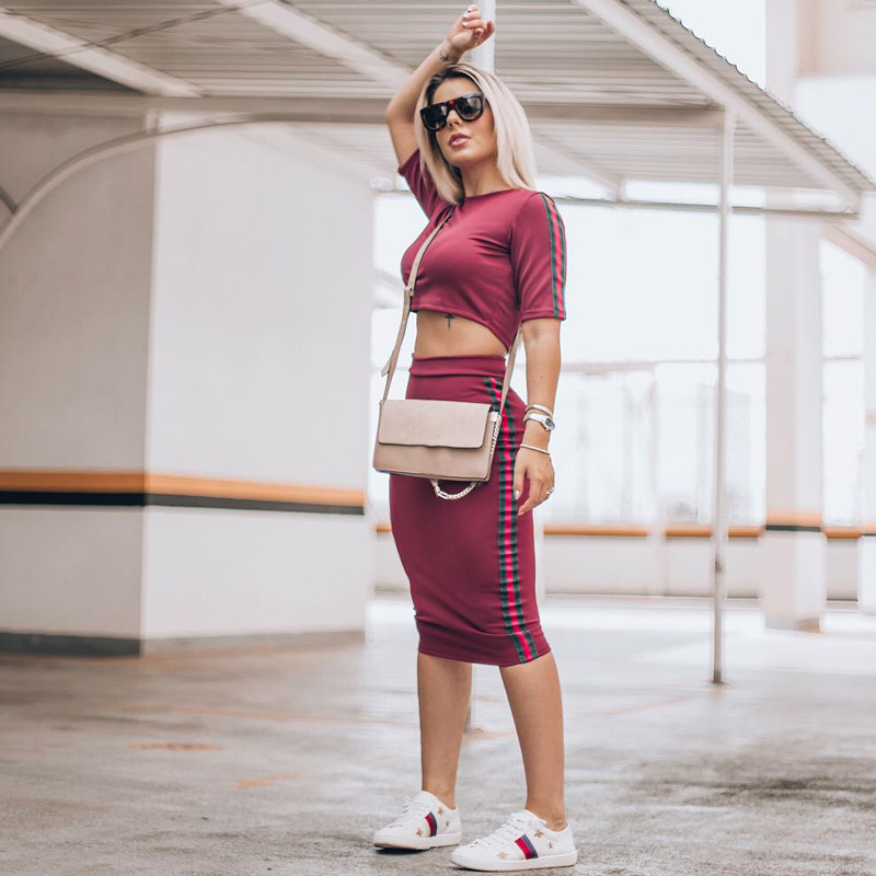 Summer Women 2019 New Fashion Sexy Two Piece Set Top Short T shirt Sexy Dress Ribbon Contrast Tight Hip Two piece in Women 39 s Sets from Women 39 s Clothing