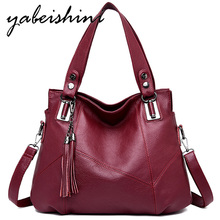 Women Handbags Tassel Leather Totes First layer cowhide CrossbodyBag High capacity Female Shoulder Bag Lady Simple Hand Bags nesitu high quality first layer cowhide big size real genuine leather women handbags lady hand bag m69316