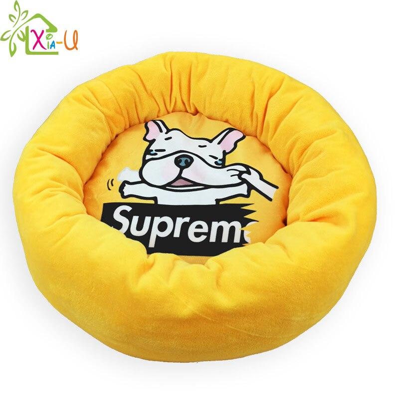 Pleasing Cartoon Pet Bulldog Bed Soft Fleece Round Dog Beds Warm Squirreltailoven Fun Painted Chair Ideas Images Squirreltailovenorg
