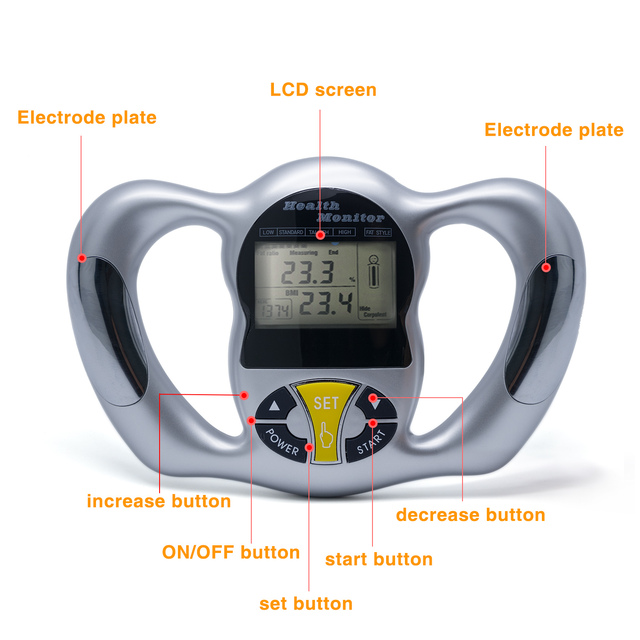 Wireless Portable Digital LCD Screen Handheld BMI Tester Body Fat Monitors Health Care Analyzer Fat Meter Detection C1418
