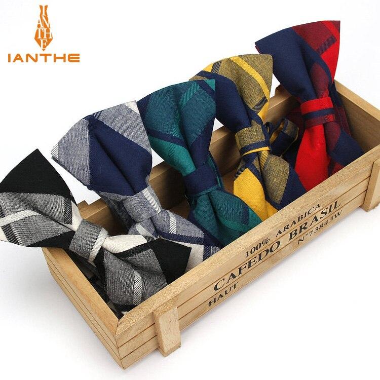 Brand New Men's Suits Cotton Bowtie For Wedding Plaid Vintage Bow Tie For Men Check Vintage Neck Tie Gravatas Slim Cravats