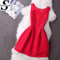 Vestidos Summer Women Dress 2017 New Cute Hollow Out Lace Dress Red A-Line O-Neck Sleeveless Casual Party Evening Elegant Dress