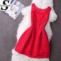 Vestidos de las mujeres del verano dress 2017 nueva lindo ahueca hacia fuera el cordón dress red a-line sin mangas del o-cuello ocasional partido de noche elegante dress