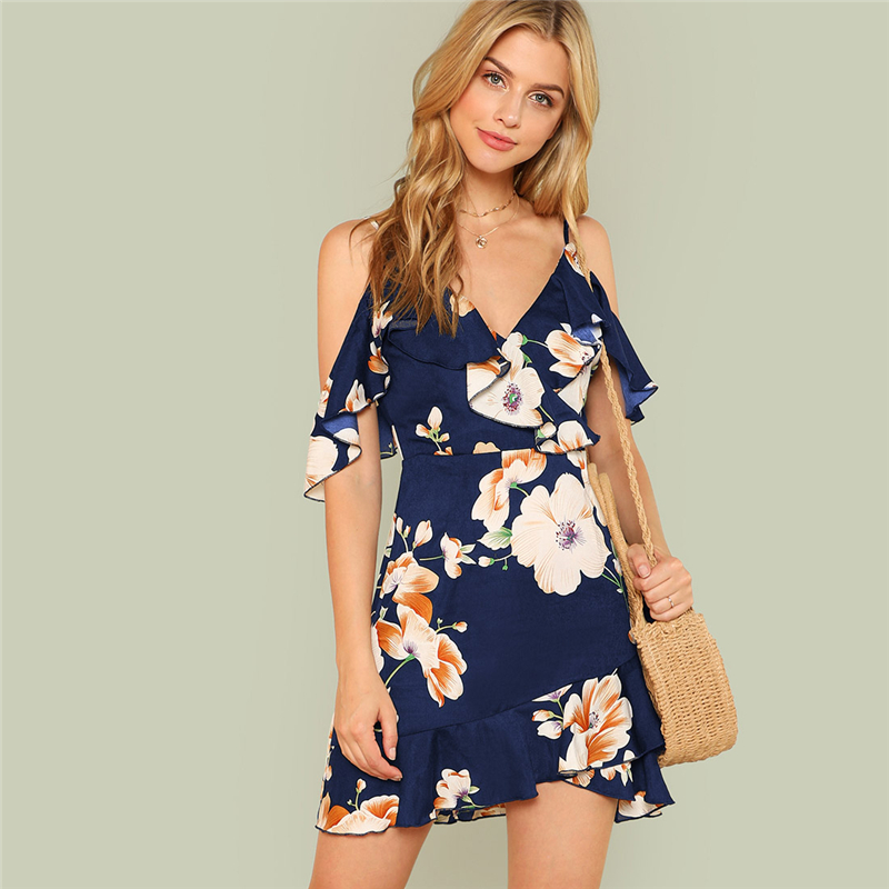 Multicolor Backless Bohemian Style Floral Print Dress For Summer