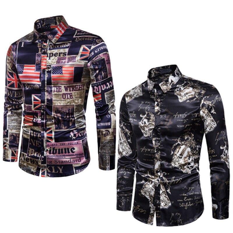 S-2XL New Fashion Mens Shirt Slim Fit Long Sleeve Floral Print Shirt Mens Clothing Trend Plus Size Mens Casual Flower Shirts