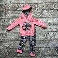 Los niños Caen ropa niños de manga larga ropa de niñas cráneo trajes de trajes de los bebés con capucha floral ropa para niños boutique establece