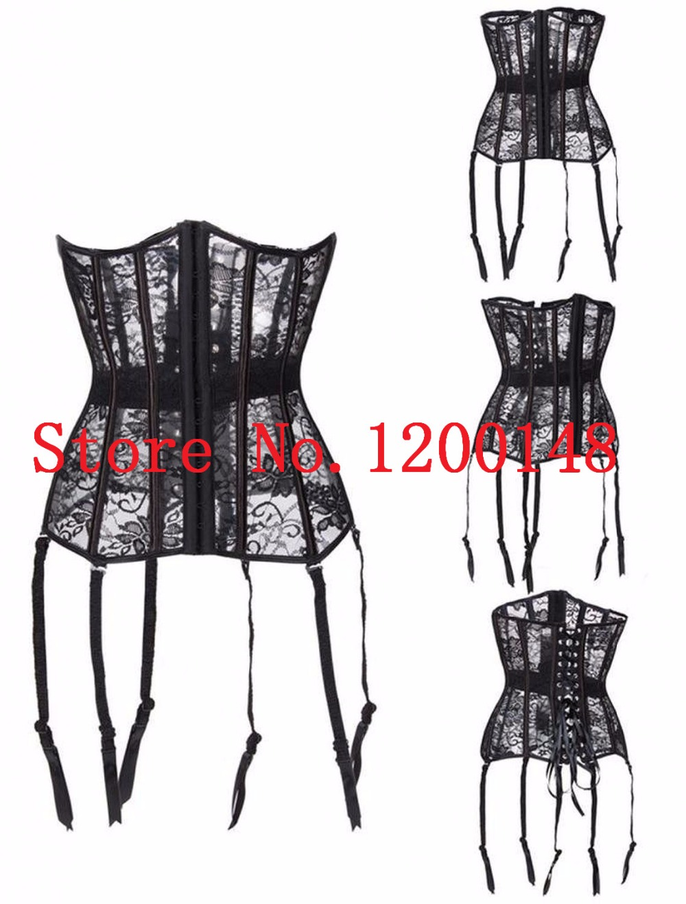 Waist Trainer   Corset   Female Overbust Shaperwear Hollow Out   Corsets   Breathable Black Women Slim   Bustier     Corset   Corselet S-2XL