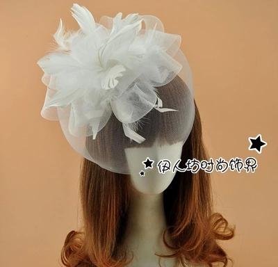 Pena 2016 chapéus de noiva barato Modest partido das senhoras da forma acessórios de cabelo nova chegada Hot Sale Tulle feito à mão de casamento do Vintage