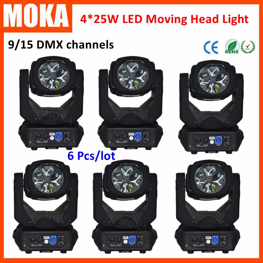 6 Pcs/lot Led Moving Head Gobo Light 4*25W  DMX 9/15CH Laser Projector DJ Disco Light Stage Lighting Strobe Light For Party led 30w spot moving head lights party disco dj stage lighting 30w mini gobo projector dmx stage effect light led pattern lamps