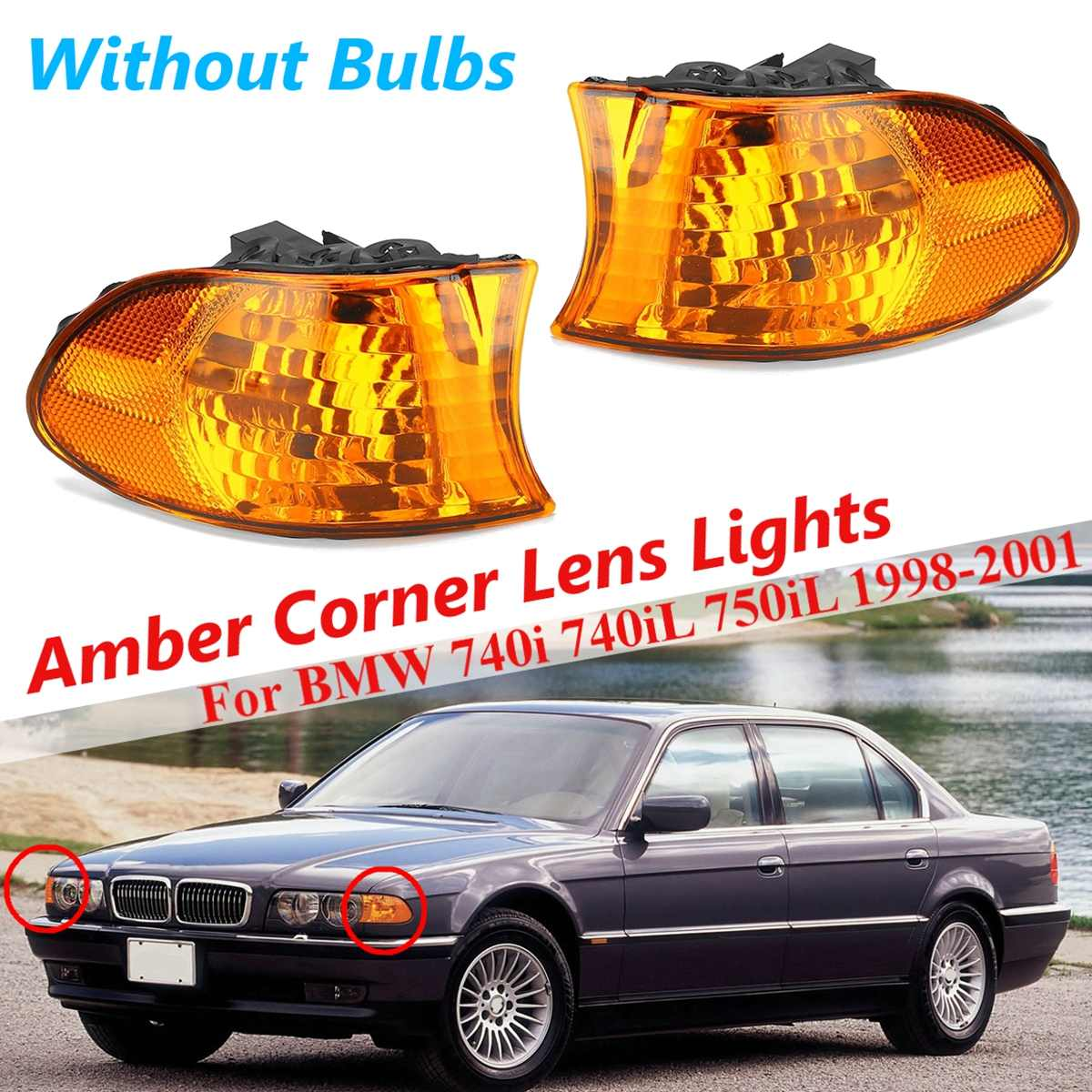 For <font><b>BMW</b></font> <font><b>E38</b></font> <font><b>7</b></font> <font><b>Series</b></font> 740i 740iL 750iL 1 Pair Car Front Amber Coner Signal Lamp Fog Light Drl Headlights Styling Car Accessories image