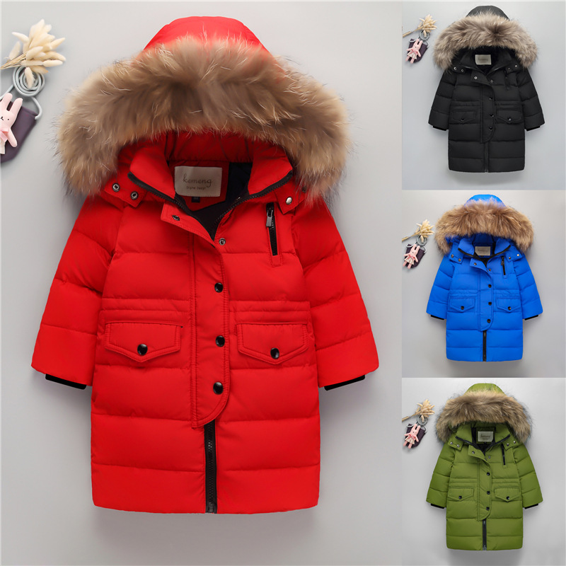 New Children Down Jacket Boy Girls Raccoon Fur Hooded Winter Coats Solid Color Baby Kids Parka Outerwear cold russian winter jacket new 2018 fashion girl winter down jackets raccoon fur children coats warm baby thick kids outerwear