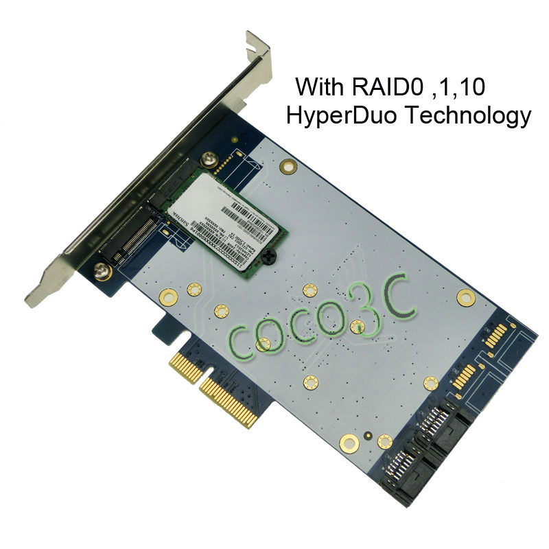 2 ports SATA 6Gbps + 2-port NGFF slot PCI-e Card HyperDuo SATA 3.0 M.2 SSD + HDD with RAID PCI Express card
