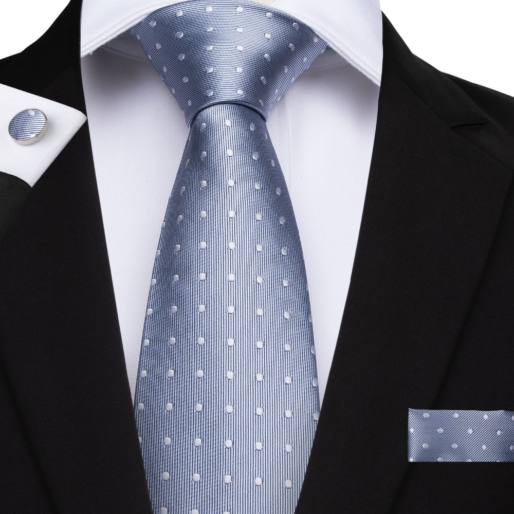 2019 DiBanGu New Smoky Blue Dot Ties Hanky Cufflinks Tie For Men 100% Silk Necktie Business Wedding Party Men's Tie Set SJT-7146