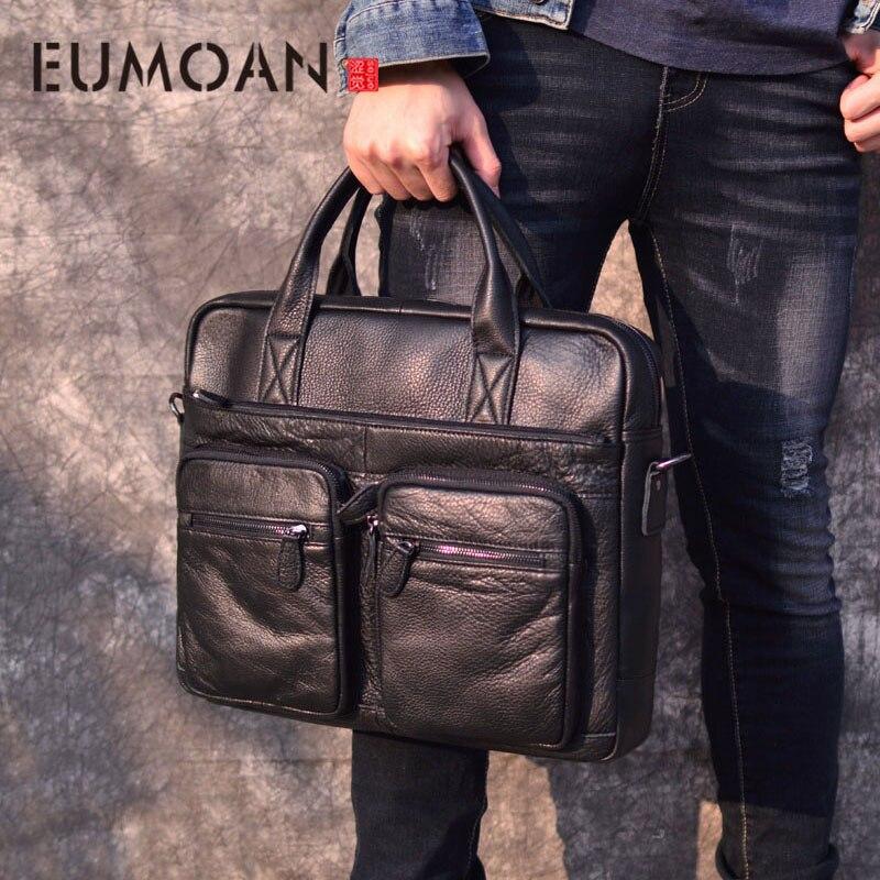EUMOAN Business hommes en cuir véritable sac 17 ''ordinateur portable fourre-tout porte-documents pour hommes bandoulière mode sac à main homme Messenger sac hommes