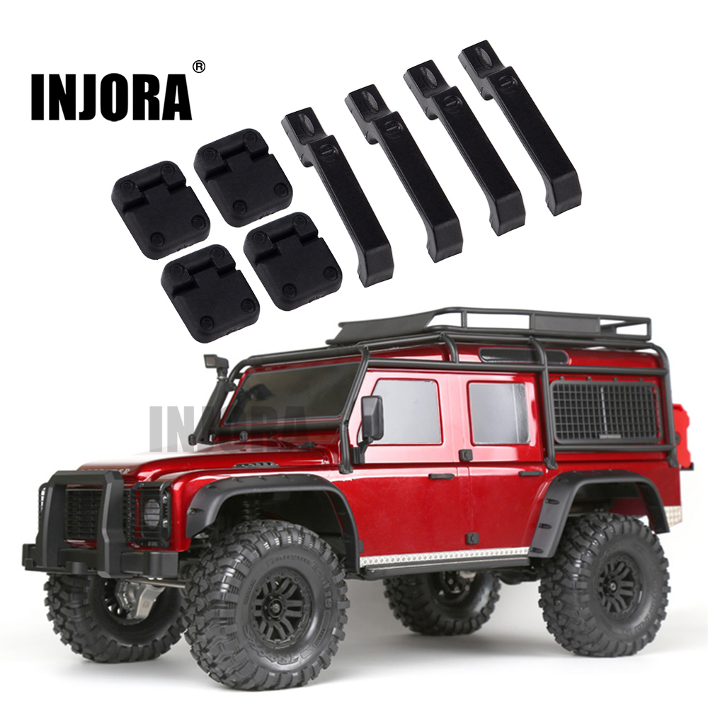 INJORA 1Set Black Plastic Car Door Hinges & Door Handles for 1:10 RC Crawler Traxxas TRX-4 TRX4
