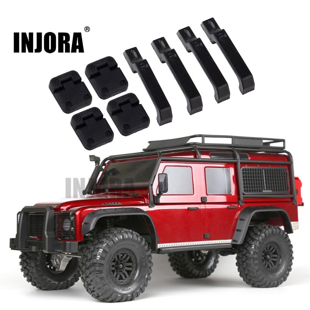 INJORA 1Set Black Plastic Car Door Hinges & Door Handles For 1:10 RC Crawler Traxxas TRX-4 TRX4