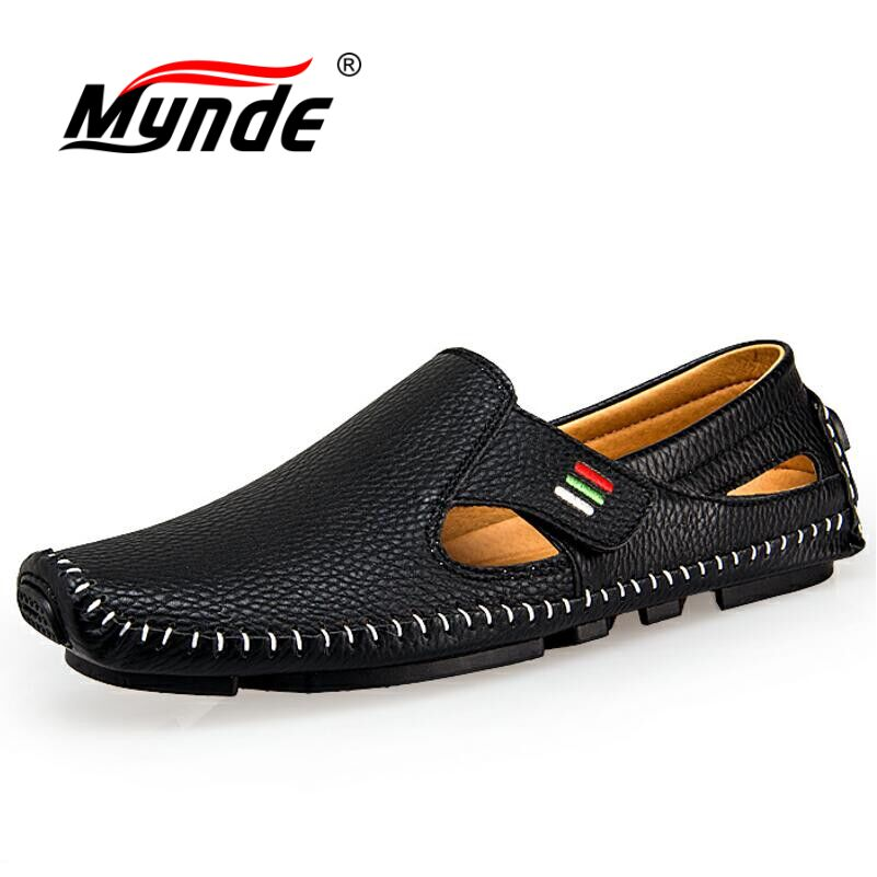 MYNDE New Fashion Moccasins For Men Loafers Summer Walking Breathable Casual Shoes Men Hook&loop Driving Boats Men Shoes Flats(China)