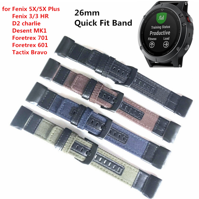 d786b6e38b5 Nylon Faixa de Relógio Pulseira de Couro Para Garmin Fenix 3 Fenix 3 HR