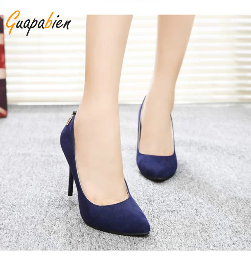 Guapabien New Sexy Pointed Toe Red Bottom High Thin Heels Wedding Shoes Ladies Brand Women Pumps Shoes High Heels OL Dress Pumps sexy pointed toe high heels women pumps shoes new spring brand design ladies wedding shoes summer dress pumps size 35 42 302 1pa