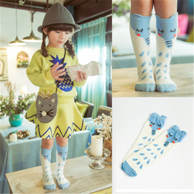 New Unisex Autumn Baby Infan Long Knee High Socks Cotton Kids Cute Cartoon Fox Socks Newborn Children Boy Girls Meias Long Tube