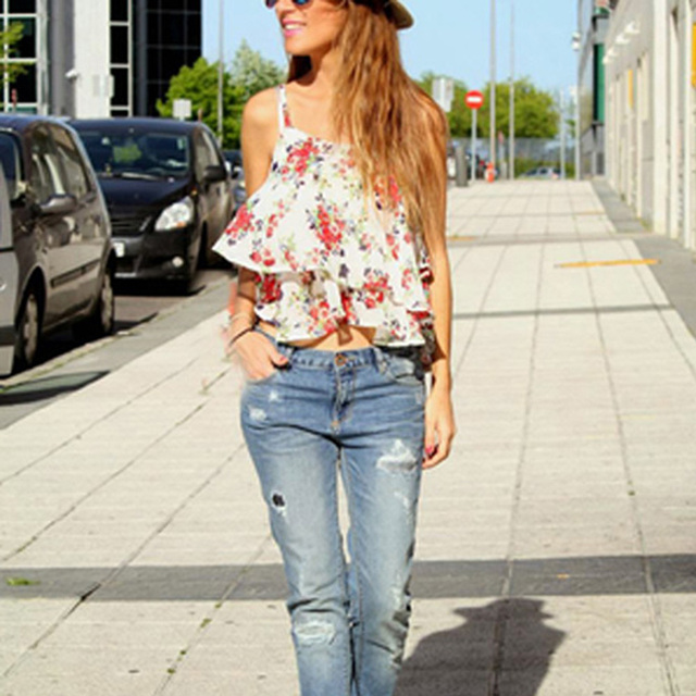 b53218b313 2017 New Women Summer Flower Print Tank Tops Casual Chiffon Camisole Sexy  Loose Floral Beach Vest for Female Fashion Clothing
