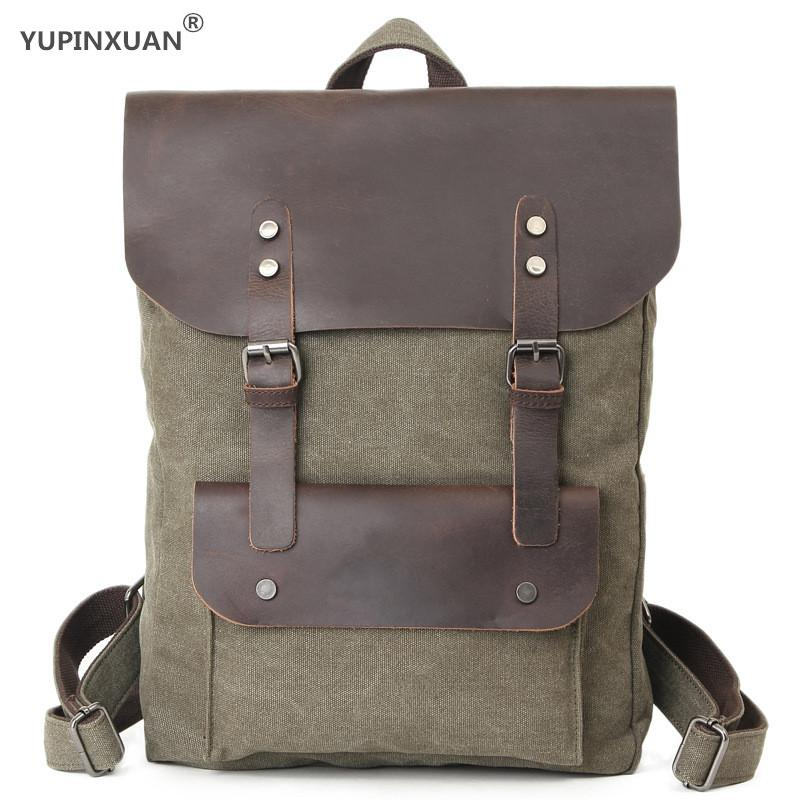 Фотография YUPINXUAN 2 Size Unisex Pure Cotton Canvas Backpacks for Teenagers Vintage Leather+Rivets Canvas Daypacks Youth Rucksacks Retro