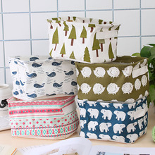 1pcs Storage Basket Cute Printing Waterproof Organizer Cotton Linen Sundries Box Cabinet Underwear Bag