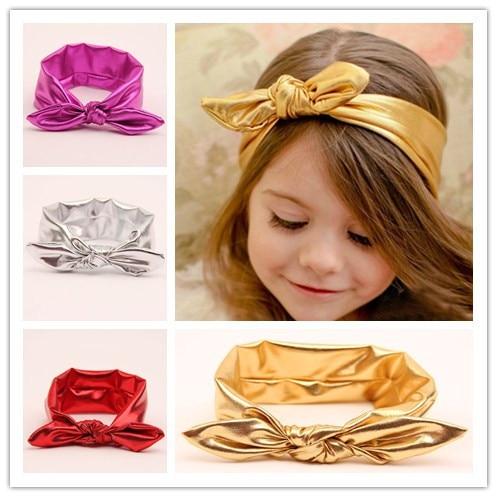 Wholesale Baby Girls Metallic Messy Bow Head Wraps Headband Jersey