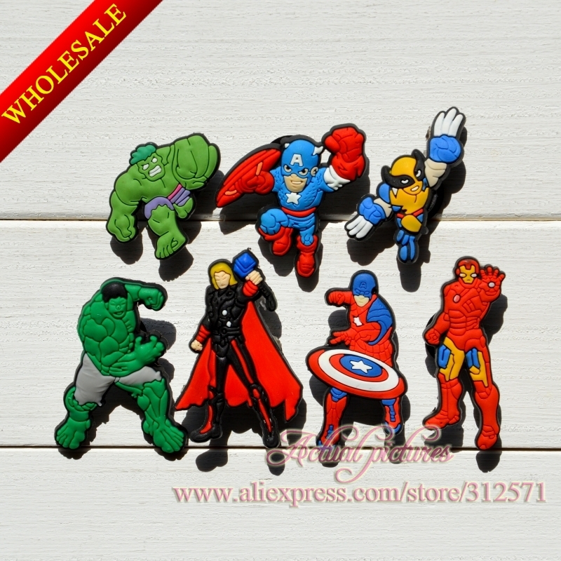 Free Shipping 100pcs Avenger 047-01,PVC shoe decoration/shoe charms/shoe accessories  for clogs.Party gift, Birthday gift. new arrival free shipping 40 pcs lot fruit shoe decoration shoe charms shoe accessories for clogs hyb074 01