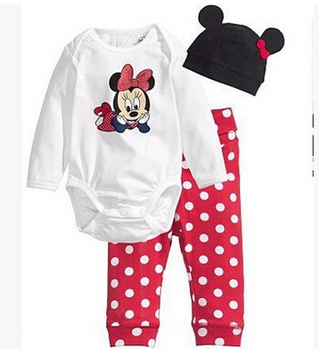 New baby clothing set Infants Minnie Baby Girls Cotton Long Sleeve Tops Romper Long Pants Hat 2pcs newborn baby boys clothes set he hello enjoy baby rompers long sleeve cotton baby infant autumn animal newborn baby clothes romper hat pants 3pcs clothing set