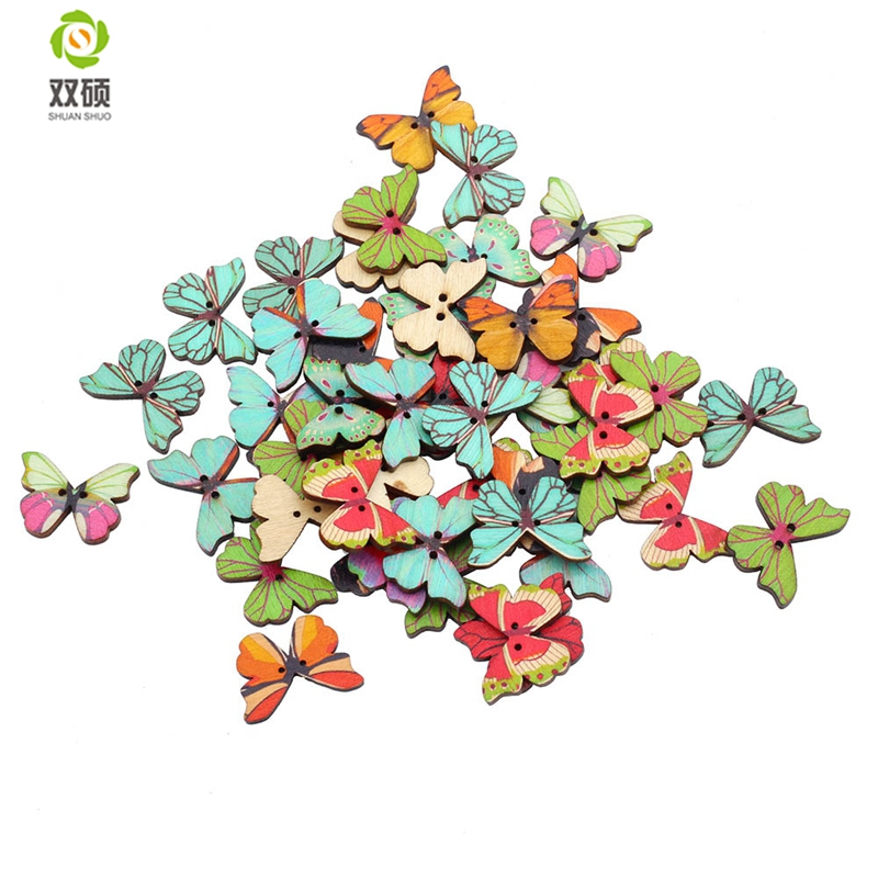 ShuanShuo Butterfly Style Wooden Buttons Hand Printed DIY Jewelry Colorful Mixed Wood Buttons For Hat, Shoes, Clothes 50PCS/Bag ...