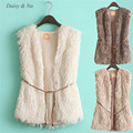 Daisy & Na Hot Women Faux Fur Vest Sleeveless Long Fur Waistcoat Gilet Coat Jacket Outwear 083