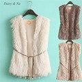 Margarida e Na Hot mulheres Faux Fur Vest mangas longo colete de pele Gilet brasão Jacket Outwear 083